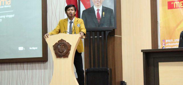 Sambutan Presiden Mahasiswa UNIKAMA yang menghebohkan peserta Dialog Kepemimpinan